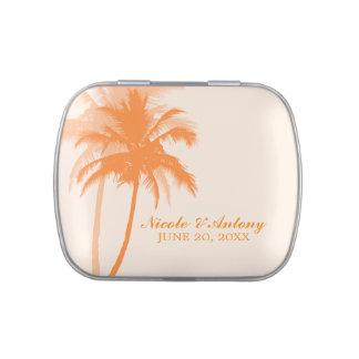 Boda de playa anaranjado de las palmeras latas de caramelos