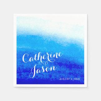 Boda de playa azul de la acuarela personalizado servilleta desechable