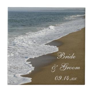 Boda de playa azulejo cuadrado pequeño