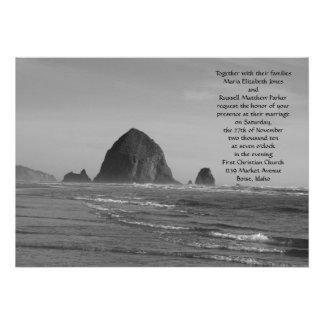 Boda de playa blanco y negro invitacion personalizada