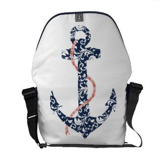 Boda de playa de la marina de guerra y del ancla d bolsa de mensajeria