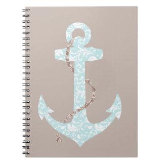 Boda de playa de la marina de guerra y del ancla d spiral notebooks