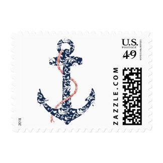 Boda de playa de la marina de guerra y del ancla sello