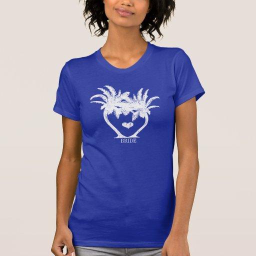 Boda de playa de la palmera camisetas