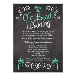 Boda de playa de la palmera de la turquesa de la p invitación
