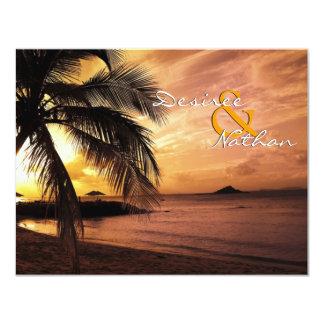 """Boda de playa de la puesta del sol RSVP Invitación 4.25"""" X 5.5"""""""