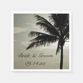 Boda de playa de la silueta de la palmera servilletas de papel