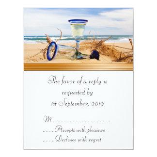 """Boda de playa de la tarjeta de RSVP Invitación 4.25"""" X 5.5"""""""