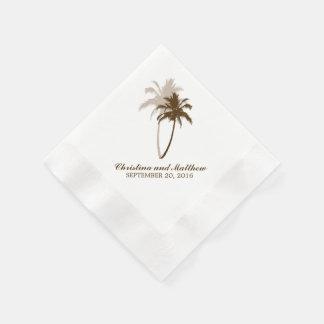 Boda de playa de las palmeras de Brown Servilleta Desechable