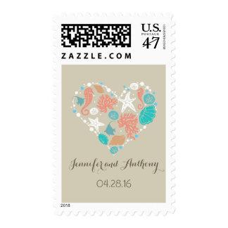 boda de playa de los seashells del corazón del timbre postal