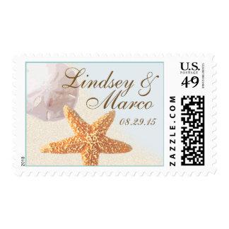Boda de playa del dólar de las estrellas de mar y timbres postales