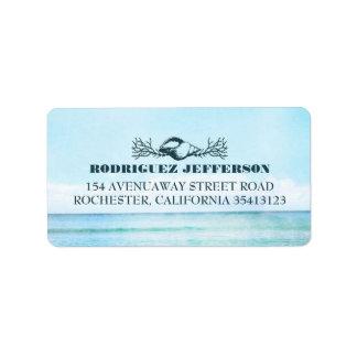 Boda de playa del mar de la turquesa etiquetas de dirección