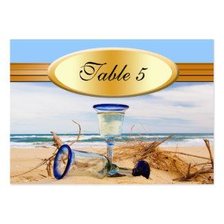 Boda de playa del número de la tabla tarjetas de visita grandes