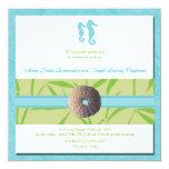 Boda de playa - el boda azul de la aguamarina invitación 13,3 cm x 13,3cm