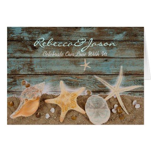 boda de playa elegante de los seashells de la tarjeta de felicitación