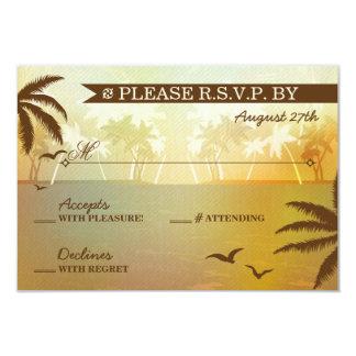 Boda de playa escénico anaranjado tropical RSVP Invitación 8,9 X 12,7 Cm