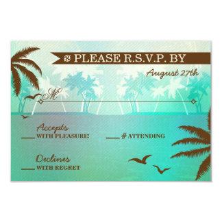 """Boda de playa escénico del trullo tropical RSVP Invitación 3.5"""" X 5"""""""