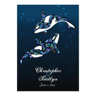 """Boda de playa hermoso de las ballenas de la orca invitación 5"""" x 7"""""""