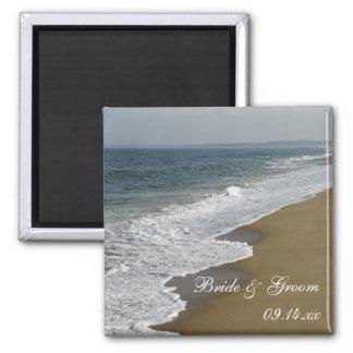 Boda de playa imán cuadrado