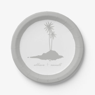 Boda de playa moderno de la isla - gris plato de papel de 7 pulgadas