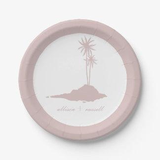 Boda de playa moderno de la isla - ruborícese plato de papel de 7 pulgadas