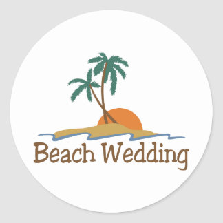 Boda de playa pegatina redonda