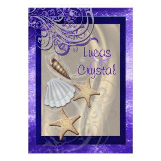 Boda de playa púrpura del Seashell brillante Comunicado Personalizado