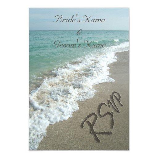 """Boda de playa que hace juego RSVP, escritura de la Invitación 3.5"""" X 5"""""""