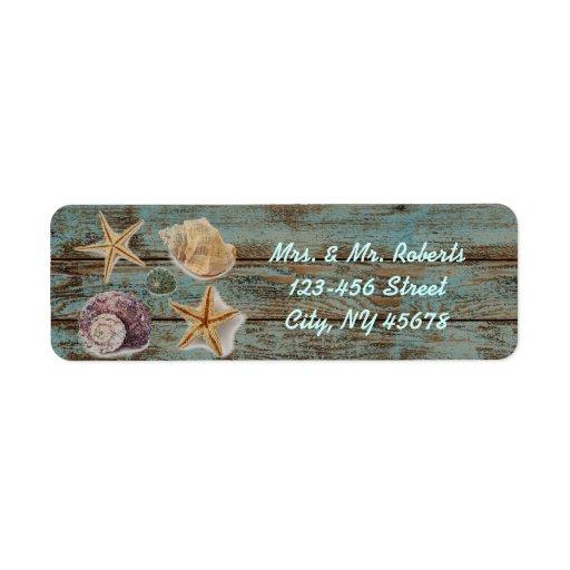 boda de playa romántico elegante de los seashells  etiqueta de remite