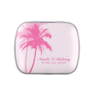 Boda de playa rosado de las palmeras latas de caramelos