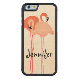 Boda de playa rosado de los flamencos funda de iPhone 6 bumper arce