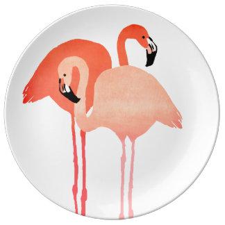 Boda de playa rosado de los flamencos platos de cerámica