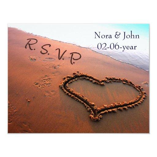 """boda de playa RSVP Invitación 4.25"""" X 5.5"""""""