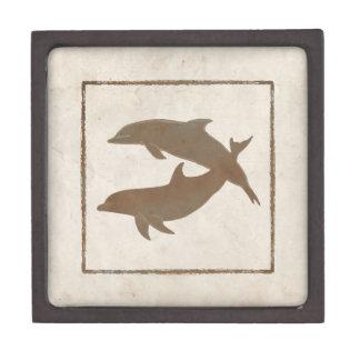 Boda de playa rústico de los delfínes caja de regalo de calidad