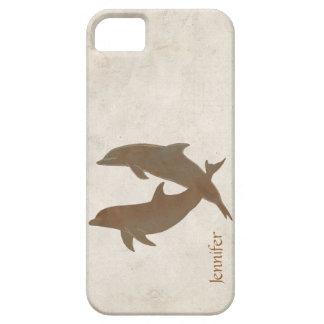 Boda de playa rústico de los delfínes iPhone 5 funda