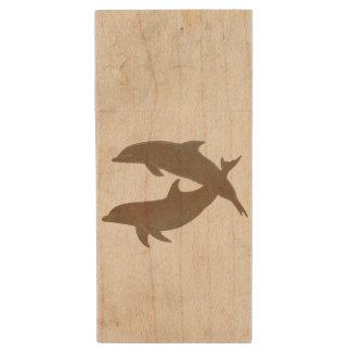 Boda de playa rústico de los delfínes memoria USB 2.0 de madera