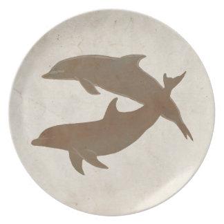 Boda de playa rústico de los delfínes platos para fiestas