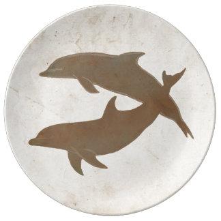 Boda de playa rústico de los delfínes plato de cerámica