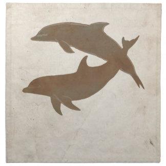 Boda de playa rústico de los delfínes servilleta imprimida
