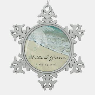 Boda de playa tropical adorno de peltre en forma de copo de nieve