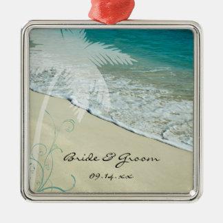 Boda de playa tropical adorno navideño cuadrado de metal