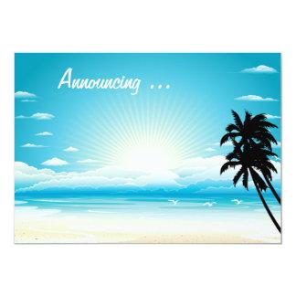 """Boda de playa tropical Annoucement Invitación 5"""" X 7"""""""