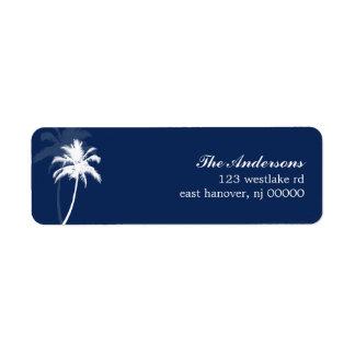 Boda de playa tropical de las palmeras etiqueta de remite