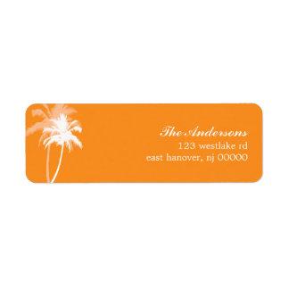 Boda de playa tropical de las palmeras etiquetas de remite