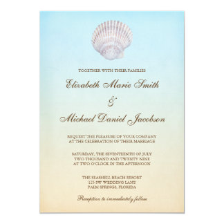 """Boda de playa tropical del Seashell Invitación 5"""" X 7"""""""