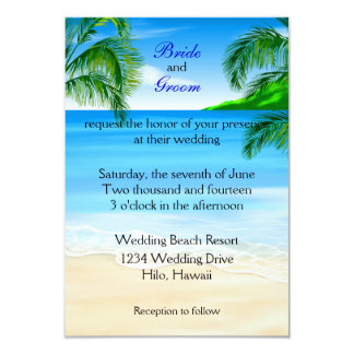"Boda de playa tropical invitación 3.5"" x 5"""