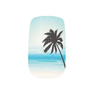 Boda de playa tropical pegatina para manicura