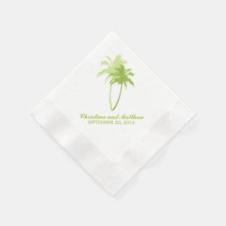 Boda de playa verde de las palmeras servilleta desechable