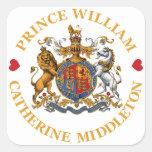 Boda de príncipe Guillermo y Catherine Middleton Calcomania Cuadradas Personalizada