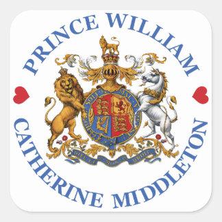 Boda de príncipe Guillermo y Catherine Middleton Pegatina Cuadrada